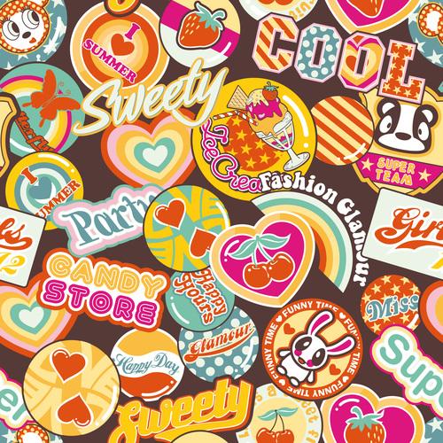 Food cartoon label vector