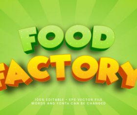 Food factory 3d editable text style effect vector