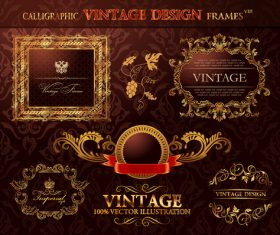 Frames calligraphic vintage sesign vector