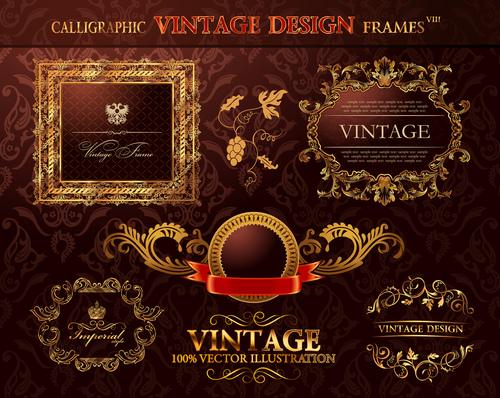Frames calligraphic vintage sesign vector