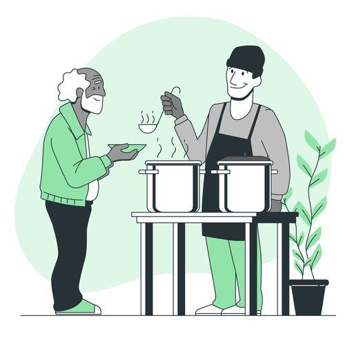 Free food delivery cartoon illustration vector