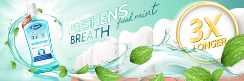 Freshens breath oral rinse ad vector