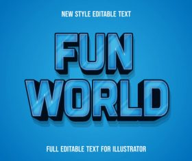 Fun world editable font effect text vector