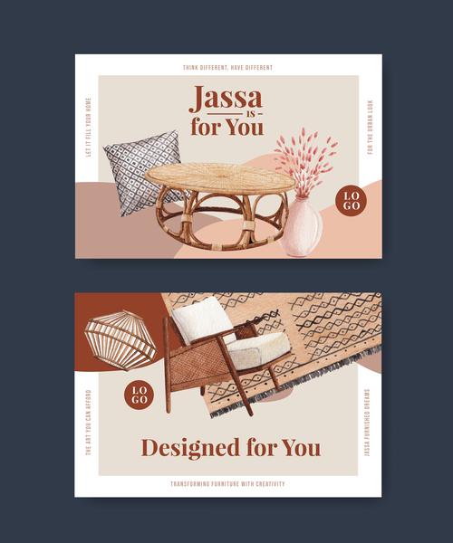Furniture sale flyer vector