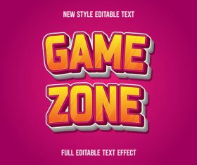 Game zone text style effect vector