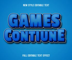 Games contiune disable font effect text vector
