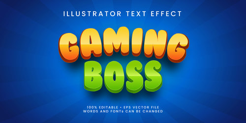 Gaming boss 3d editable text style effect vector