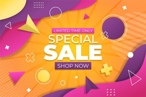 Geometric background flyer special sale vector