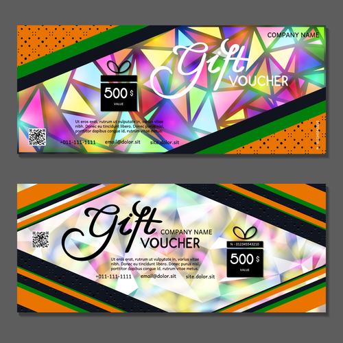 Geometric background gift card voucher vector