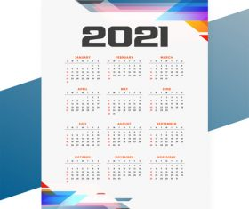 Geometric style 2021 calendar templatevector