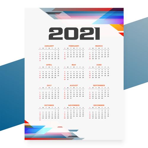 Geometric style 2021 calendar templatevector