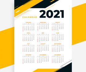 Geometric style professional 2021 calendar yellow vector