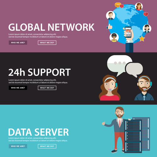 Global network company banner vector