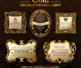 Gold decorative ornament labels vector
