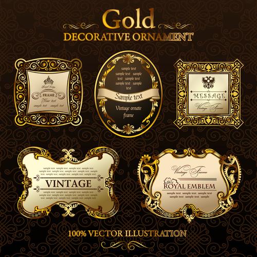 Gold decorative ornament labels vector