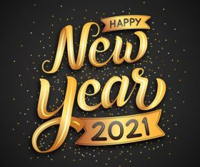 Golden lettering happy new year 2021 vector