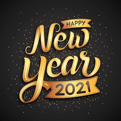 Golden lettering happy new year 2021 vector