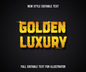 Golden luxury new style editable text vector