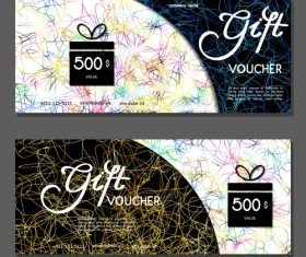 Golden silk thread background gift card voucher vector