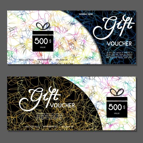 Golden silk thread background gift card voucher vector