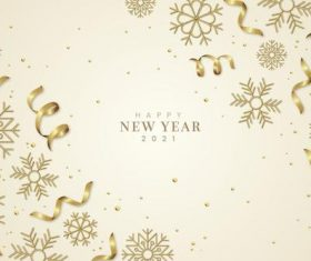 Golden snowflakes and confetti new year background vector