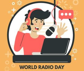 Graphic design world radio day illustration vector