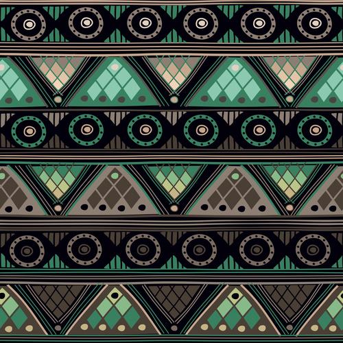 Gray green ethnic seamless pattern vector