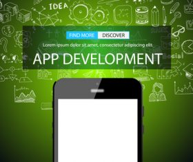 Green background app development information vector
