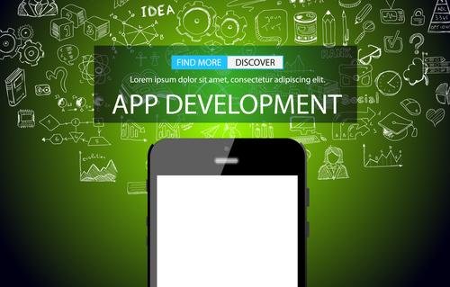 Green background app development information vector
