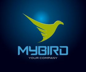 Green bird logo design vector