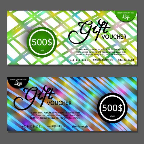 Green blue background gift card voucher vector