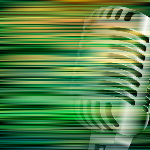 Green blur background with retro microphone vector