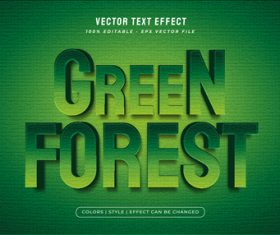 Green forest 3d editable text style effect vector