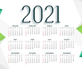 Green geometric design simple 2021 new year calendar vector