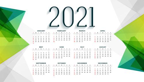 Green geometric design simple 2021 new year calendar vector