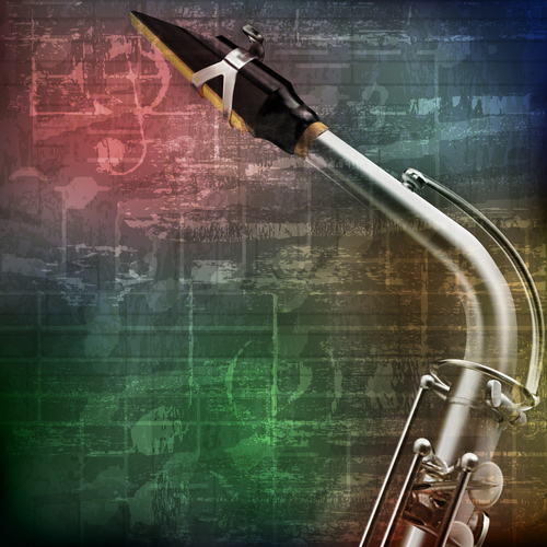Green grunge vintage sound background with saxophone vector
