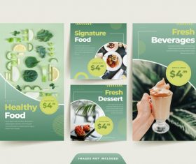 Green healthy food sale poster vector