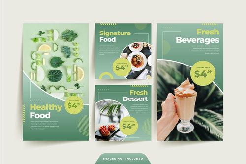 Green healthy food sale poster vector