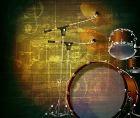 Green rock music background with drum kit vector