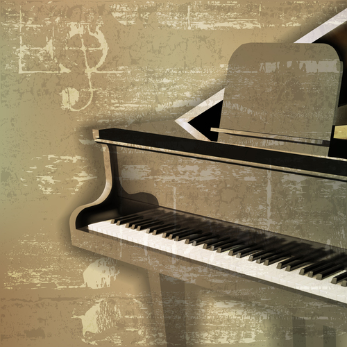 Green sound grunge background with grand piano vector