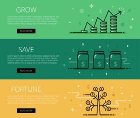 Growth wealth vector web banner set