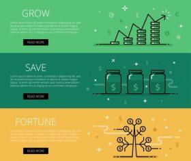 Growth wealth vector web banner set