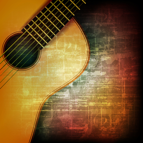 Grunge vintage background with acoustic guitar vector