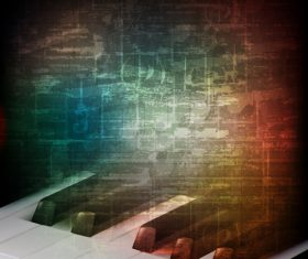 Grunge vintage background with piano keys vector
