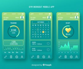 Gym workout mobile app infographic template vector