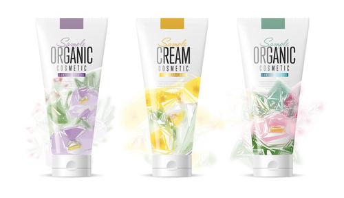 Hand cream cosmetics advertisement vector