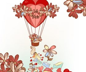 Hand drawn air balloon hearts and flowers vector