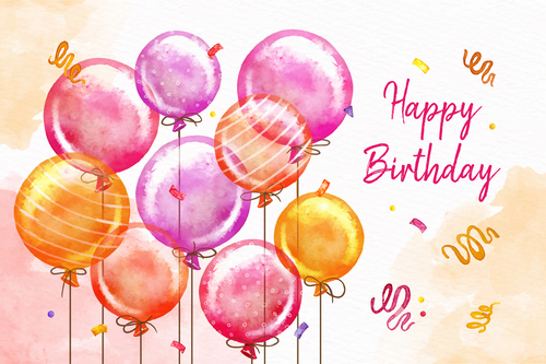 Hand drawn birthday card vector