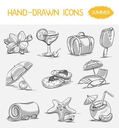 Hand drawn summer icons vector