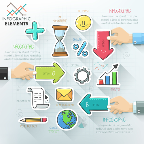 Hand drawn templates of Infographics vector